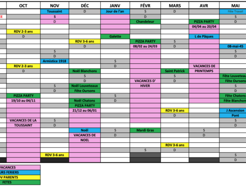 Planning 2019-2020 des MATERNELLES